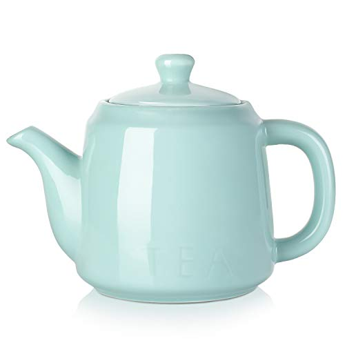 DOWAN Ceramic Teapot, 30 OZ Tea Pot with Filter Hole and Double Slots, Blooming & Loose Leaf Teapot - Turquoise - Teapot Handle Double