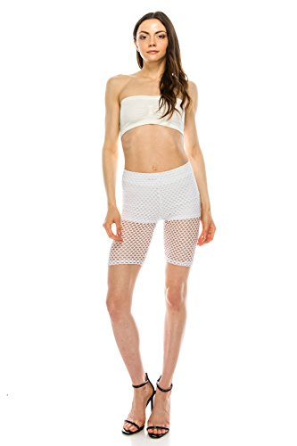 - The Classic Women's Capri Length See Through Slim Fit Leggings (Small, White)