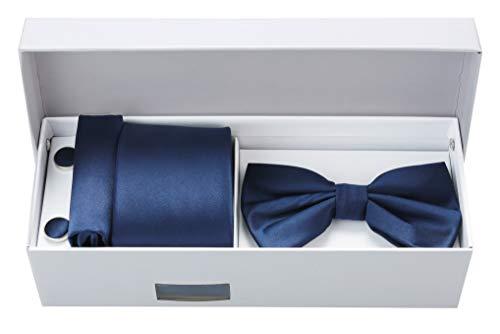 Luxury Bundle Set Tie Bow Tie Cufflinks Pocket Square (Dark Navy)