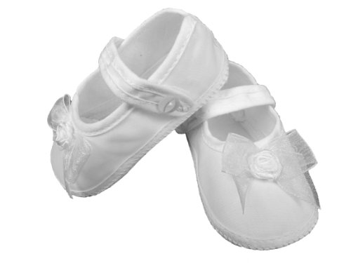 Little Things Mean A Lot Girls Organza Christening Shoe (Size 4) White