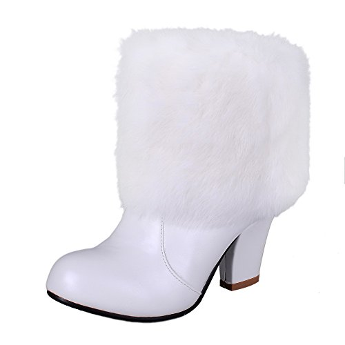 WeiPoot Women's Blend Materials Solid Closed-Toe Boots with Rough Heels, White, 37 ()