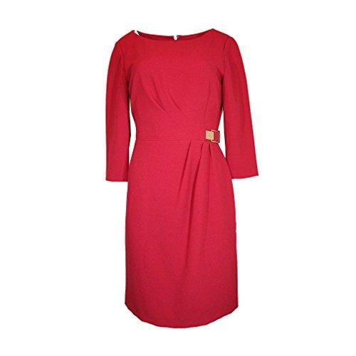 Tahari by ASL Women's 3/4 Sleeve Crepe Sheath w/ Side Ruche Lipstick Dress 6