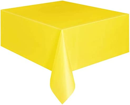 MG554zy0 137x183cm Disposable Plastic Solid Color Table Cover Party Catering Tablecloth Yellow