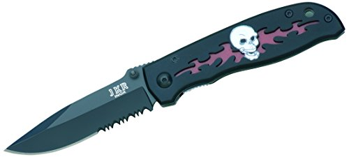 Joker Blade Tactical Knife with Fiber Handle and Skull, Black/Red, 7.28-Inch