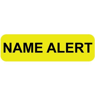 """Mini Medical Filing Label, NAME ALERT, Yellow, 5/16""""H x 1-1/4""""W, Roll of 500 -  Colortrieve, C80-50018"""