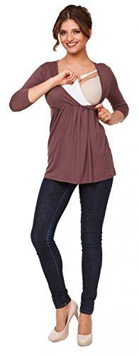 Happy Mama Premamá. Top Camiseta de lactancia efecto 2 en 1 - para mujer - 372p Cappuccino