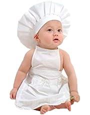 Vokmon Vitt förkläde hatt kostym kockkläder fotograferingsrekvisita baby spädbarn småbarn skytte rekvisita kostym