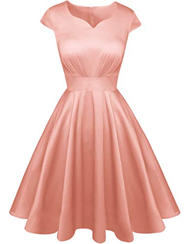 Kingfancy Summer Cocktail Dress for Women, Vintage Sweetheart Neck Semi Formal Fit and Flare Midi Dress for Evening Party Leather Pink XL