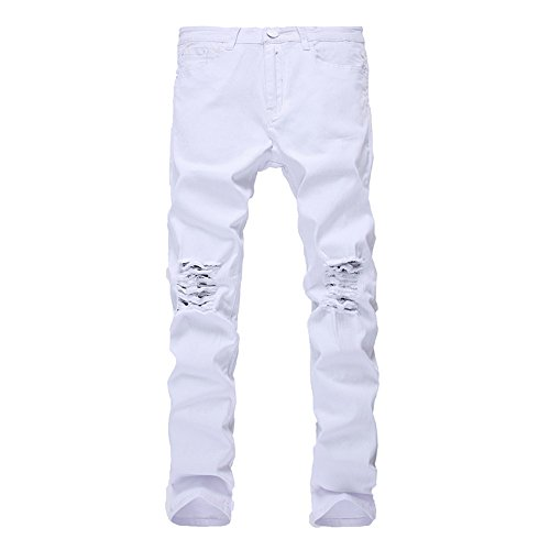 (Leward Men's Slim Fit Black Stretch Destroyed Ripped Skinny Denim Jeans (32, White))