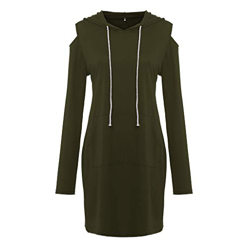 Mlide Women Off-The-Shoulder Mini Dress With Pocket,Long Sleeve Strapless Hooded A-Line Dress(Army Green,Medium) by Mlide (Image #1)