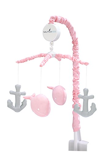 Nautica Kids Nautica Kids Nursery Separates Musical Mobile Sailboats and Anchors, Pink and Grey