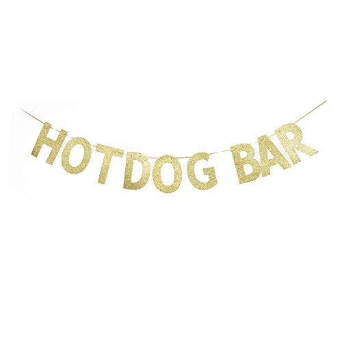 Hotdog Bar Banner, Hotdog Theme Party Sign, Birthday Food Table Decors, Fiesta/Home Party Sign Garland Gold Gliter Paper ()