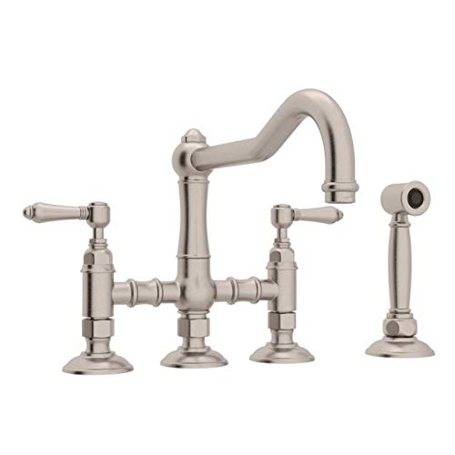 (Rohl A1458LMWSSTN-2 Country Kitchen Bridge Style Kitchen Faucet with Sidespray, Satin Nickel)