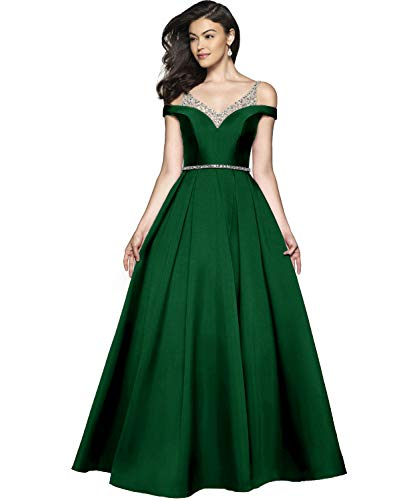 Beaded Satin Dress - Women's Off The Shoulder V Neck A-line Beaded Satin Formal Party Dress Long Prom Evening Dresses with Ruched Skirt Size 14 Emerald