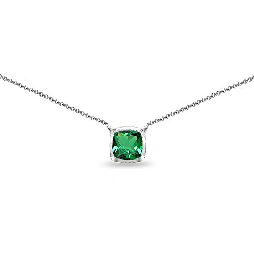 Sterling Silver Simulated Emerald Cushion-Cut Bezel-Set Solitaire Choker Necklace