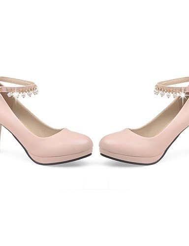 GGX/Damen Schuhe PU Sommer-/, Round Toe Heels Büro & Karriere/Casual geschoben Ferse Nachahmung Pearl schwarz/pink/weiß white-us10.5 / eu42 / uk8.5 / cn43