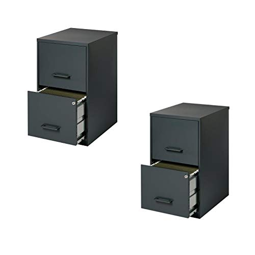 Value Pack (Set of 2) 2 Drawer Letter File Cabinet in Black by Home Square