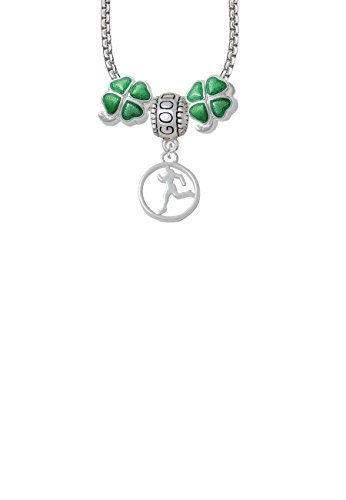 1/2' Enamel Jewelry Pendant - Runner Silhouette in 1/2'' Disc Good Luck and Clover 3 Bead Necklace
