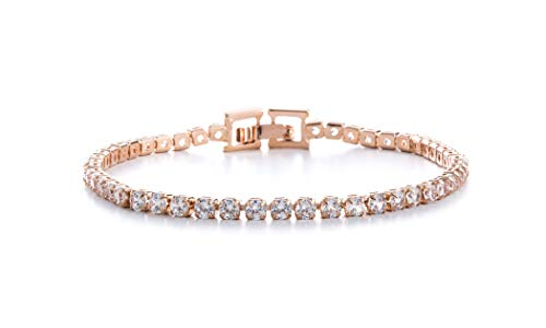 AUBREY LEE Round Cubic Zirconia Tennis Bracelet for Women in Rose Gold Plated Brass (Rose)