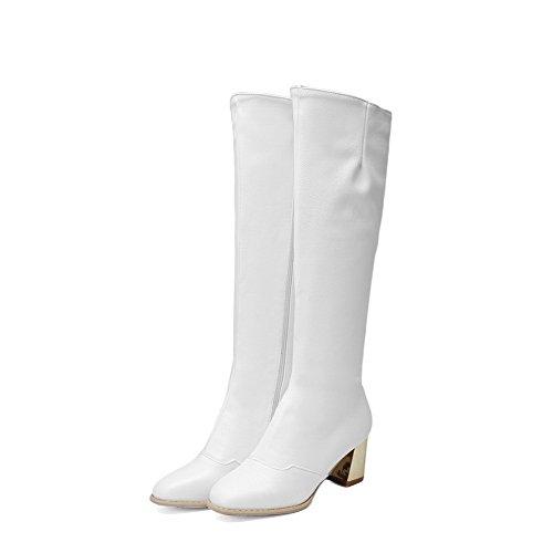 AllhqFashion Womens Mid Top Zipper Soft Material Kitten Heels Square Closed Toe Boots White GELQTZj