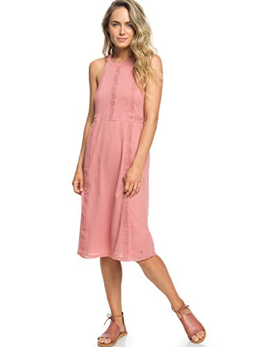 Roxy Womens Blurred Landscape - Halter Neck Dress - Women - M - Pink Withered Rose M
