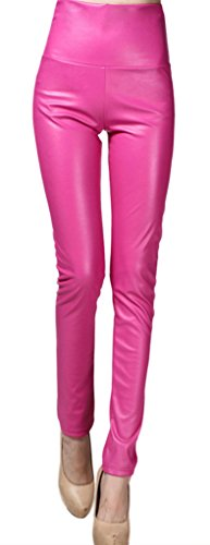 Lotus Instyle Thick High Waist Faux Leather Leggings Women Leather Pants-Rosered L