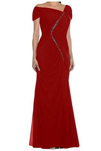 Toscana novia por la noche vestidos de gasa asimétrica elegante novia de madre a bola de largo vestidos de fiesta Rojo