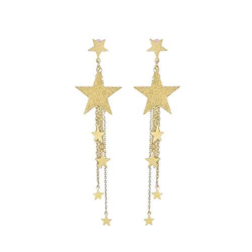 Women Long Drop Dangle Earrings Lucky Star Tassel Stud Earrings Party Bohemia Dress Accessory by Lowprofile Gold
