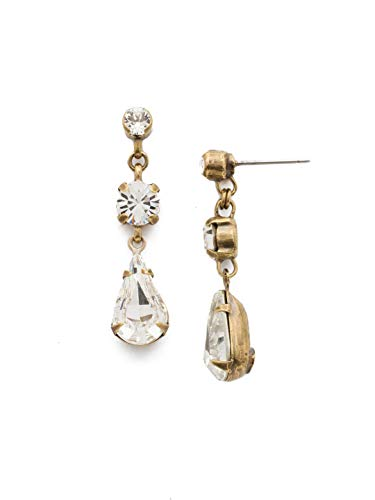 Sorrelli Antique Gold Tone Crystal Women's Tiger Lily Trio Drop Earrings, Clear, 1.5 ()