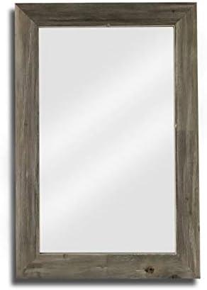 Raphael Rozen , Elegant, Modern, Classic, Vintage, Rustic, Hanging Framed Wall Mounted Mirror, Natural Weathered Grey Barn Wood 2 5 8 , 34×44