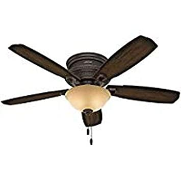 Hunter Indoor Low Profile Ceiling Fan with light and pull chain control – Ambrose 52 inch, Bronze, 53355