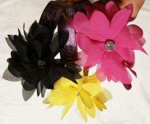 Goody Luxe Layered Chiffon Flower with Bezeled Jewel Center Headband, 1 Ct