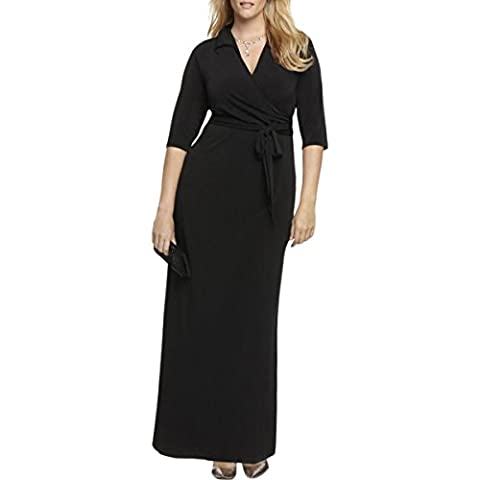 NY Collection Womens Plus Matte Jersey Surplice Evening Dress Navy 2X - Matte Jersey Surplice