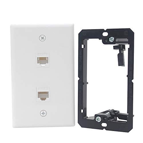 (KCC Industries 2-Port Cat6 Ethernet Cable Wall Plate | Female-Female with Mounting Bracket +UL/CSA Listed Safe+)