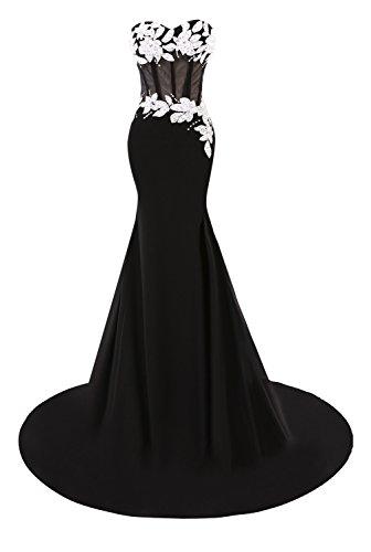 Bess Mariée Sirène Appliques Women's Robes De Soirée Bal Perles D'or