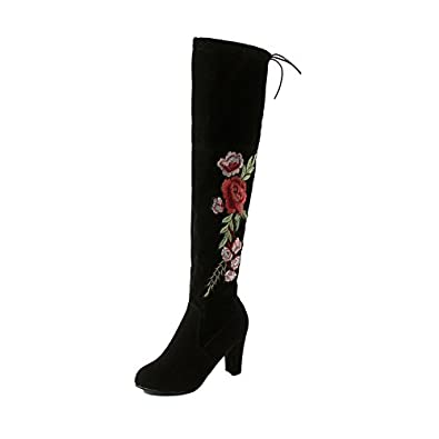 08a581615ae Brooklyn Walk Woman Winter Thigh High Boots Exquisite Embroidery Flower  Faux Suede High Heels Over The