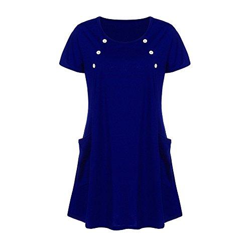 Femmes Chanyuhui Tops Tunique Robes Sur La Manche Vente Dame Bouton Solide Poche Courte Soirée Mini Robe Bleue