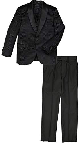 (Isaac Mizrahi Boy's ST2341 Satin Shawl Collar 3 Piece Tuxedo - Black Textured - 14)