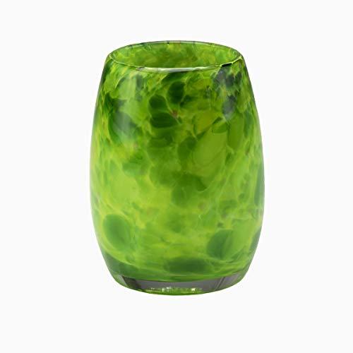 (Votive Candle Holder. Hand Blown Art Glass Votive in Green.