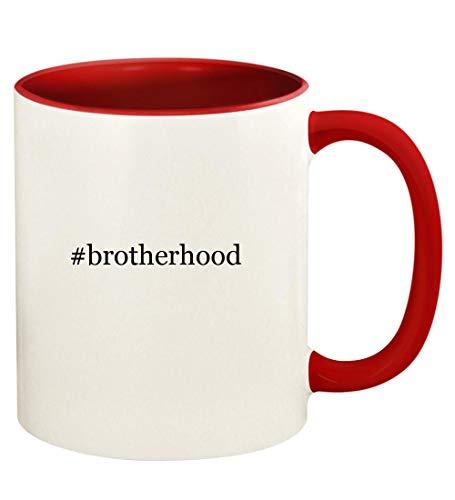 #brotherhood - 11oz Hashtag Ceramic Colored Handle and Inside Coffee Mug Cup, Red