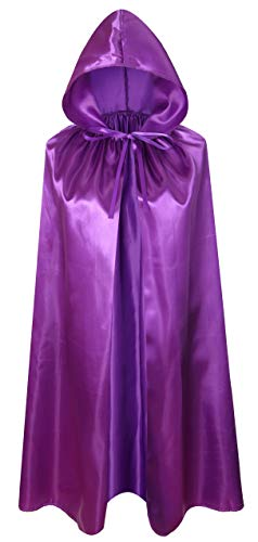 Crizcape Kids Costumes Cloak DIY Cape with Hood for Halloween Christmas Ages 2 to 18 (Purple, 60cm/Ages 2-4)