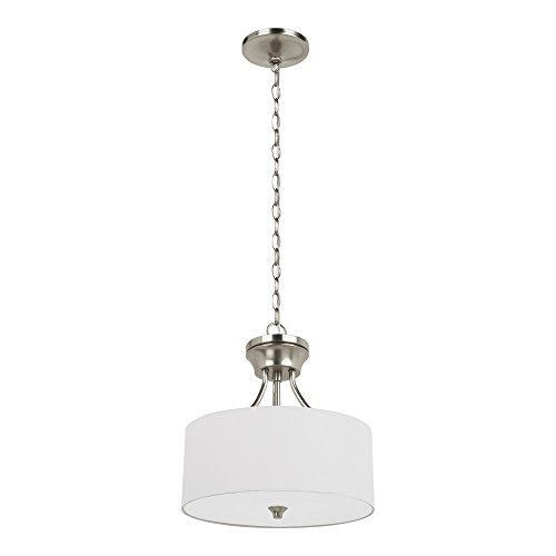 Etched White Opal Glass Diffuser - Sea Gull Lighting 77952-962 Stirling Two-Light Semi-Flush Convertible Pendant with Satin Etched Glass Diffuser and White Linen Fabric Shade, Brushed Nickel Finish