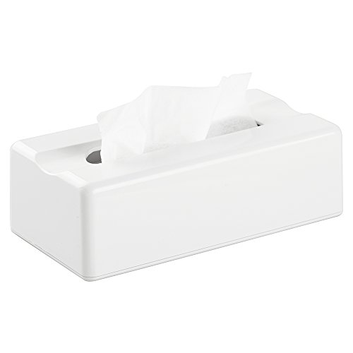 (InterDesign Facial Tissue Box Holder - Modern Tissue Box Cover for Bathroom, Bedroom or Office, Large, White)