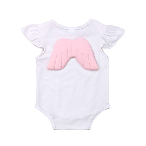 Seyurigaoka Newborn Baby Boy Girl Bodysuit Unisex Baby Angel Wings Romper Ruffle Sleeve Onesie Jumpsuit Shirt Clothing White