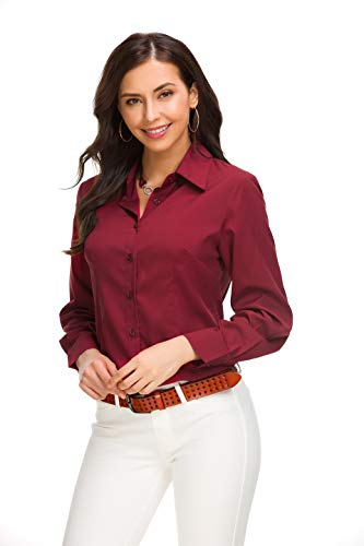 8201f6eccc4916 SHOPUS | JMSHIHUA Womens Basic Simple Button Down Shirt, Maroon-long Sleeve  D2, Small