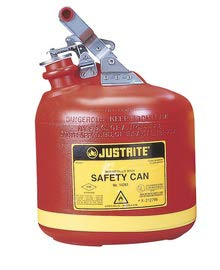 Justrite 2 1/2 Gallon Red Polyethylene Type I Non-Metallic Round Safety Can With Stainless Steel Hardware (For Flammables)
