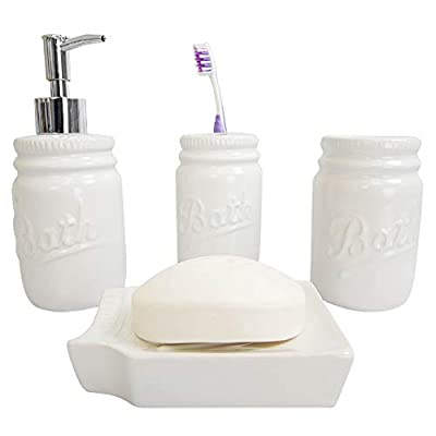 Home Basics Rustic Mason Jar 4 Piece Décor Bathroom Accessories Set, includes Lotion Pump Dispenser, Toothbrush Holder, Cup Tumbler, and Soap Dish , White - FULLY FUNCTIONAL 4 PIECE BATH ENSEMBLE: 4 Piece bathroom accessory set adds style and function to the counter or vanity with its durable dolomite material and beautiful pattern. Set of 4 includes -1 Lotion Dispenser, 1 Tumbler, 1 Toothbrush Holder, and Soap Dish. PERFECT FOR ANY DÉCOR: The ornate rose petal design adds an elegant touch to any bath or powder room. GREAT FOR ANY OCCASION OR ANY SETTING: Artfully arrange each piece on a serving tray (sold separately) for an effortlessly elegant bath set up that is both functional and stylish. The four-piece bath is perfect as a housewarming present, wedding gift, or anyone looking to equip their bath with a set of accessories that are practicable - bathroom-accessory-sets, bathroom-accessories, bathroom - 31iEmcQn0EL. SS400  -
