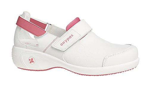 Oxypas Move Up Salma Slip-resistant, Antistatic Nursing Shoes, White/Fuchsia (Fuchsia), 6.5 UK (40 EU)