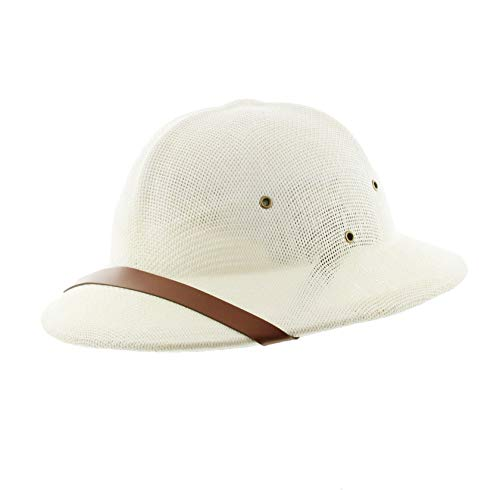 Milani Straw Pith Helmet Outdoor Hat with Adjustable Headband for Jungle Safari Explorer Costume (Ivory/Brown Band)