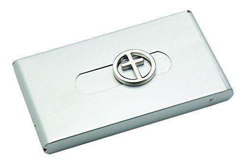 Sanis Enterprises Cross Push Button Design Silver Business Card Case, 2.25 by 4-Inch - Executive Silver Business Card Case